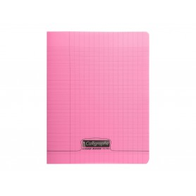 Calligraphe 8000 - Cahier polypro 24 x 32 cm - 48 pages - grands carreaux (Seyes) - rose
