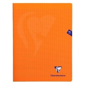 Clairefontaine Mimesys - Cahier polypro 24 x 32 cm - 96 pages - grands carreaux (Seyes) - orange