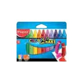 Maped Color'Peps Maxi - 12 Crayons - cire - couleurs vives assorties