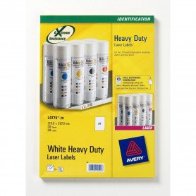 Avery - 20 étiquettes Ultra Resistantes blanches - 210 x 297mm - Impression Laser