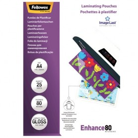 Fellowes - 25 pochettes de plastification A4 (216 x 303 mm) - 80 microns - brillantes