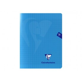 Clairefontaine Mimesys - Cahier polypro 17 x 22 cm - 96 pages - grands carreaux (Seyes) - bleu